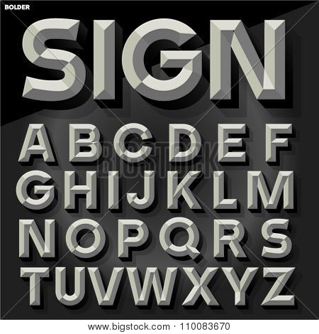 Vector 3D black and white simple bold beveled alphabet with shadow