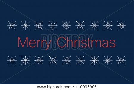 Merry Christmas Bunner With Snowflakes