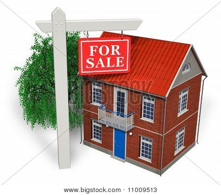 """""""For sale"""" sign in front of new house"""