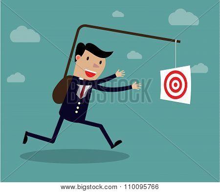 Businessman chasing his target, Motivation concept