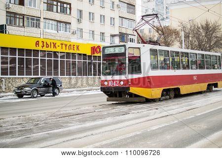 Red Inner City Urban Trolleybus