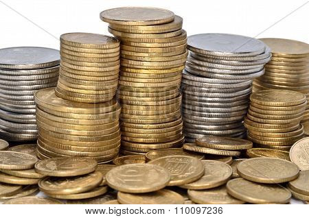 Folded Stack Of Coins Of Yellow And White Metal