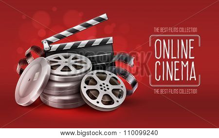 Online cinema with film movie tape disks in boxes and directors clapper for filmmaking. Vector Illustration
