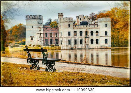 romantic medieval castles of Belgium - Bouchot, artistic retro picture