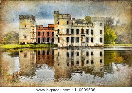 romantic medieval castles of Belgium - Bouchot, artistic vintage picture