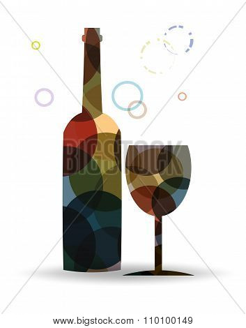 Wine Bottle And Glass In Abstrac Style