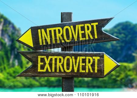 Introvert - Extrovert signpost in a beach background