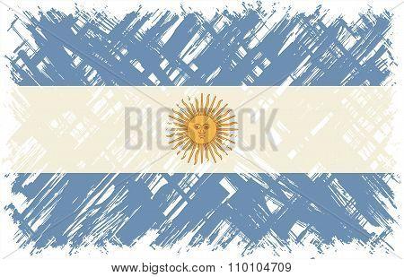 Argentinean grunge flag. Vector illustration.