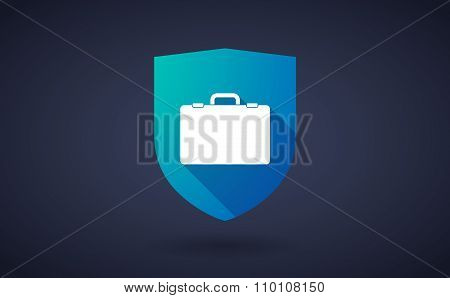 Long Shadow Shield Icon With  A Breiefcase