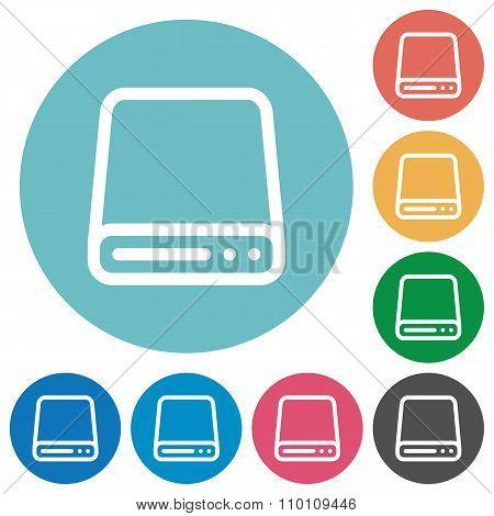 Flat Hard Disk Drive Icons
