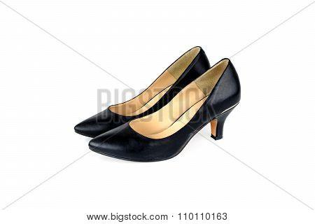 Black High-heeled Women Shoe Isolated On White