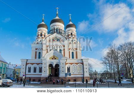 People Go To The Sunday Service In The Cathedral Of Alexander Nevsky In Tallinn
