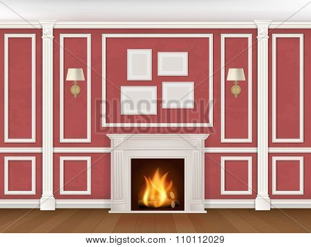 Wall With Pilasters, Fireplace, Sconces