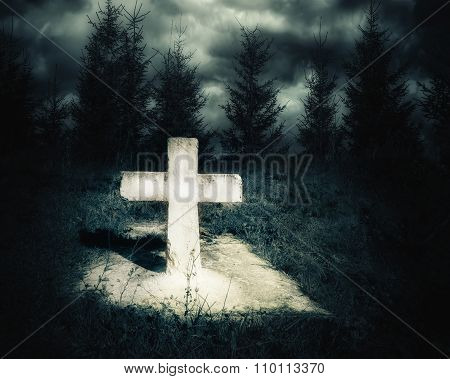 Dark Night Spooky Landscape With Abandoned Grave