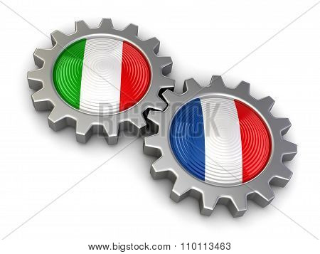 Italian and French flags on a gears (clipping path included)