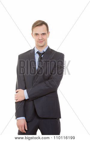 body language. man in business suit isolated white background. gestures of arms and hands. partial b