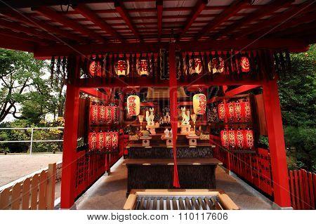 Kyoto, Japan November 22, 2015: Jishu shrine in Kyoto. A Jishu shrine is in Kiyomizu-dera. God of a matchmaking is deified in a Jishu shrine. A Jishu shrine is registered with world-class cultural property.