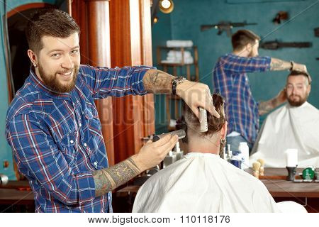 New haircut style in barber shop