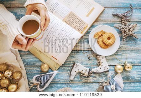 Christmas Time Background With Decoration, Coffee And Cooking Notes