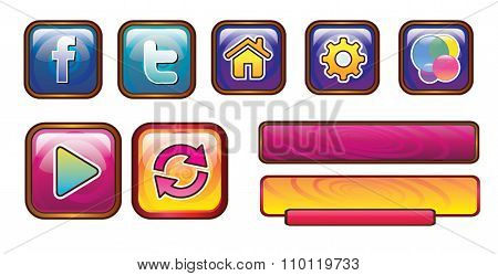 Game Buttons - Setting, Facebook, Twitter, Game Center on Iphone, iPad, Home, Play