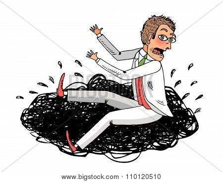 Man in white suit  fell in the mud