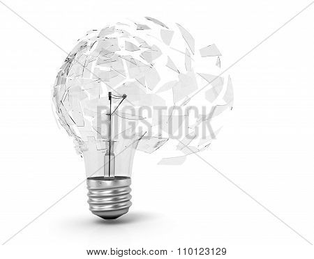 Concept Of A Utopian Idea. Broken Light Bulb On A White Background