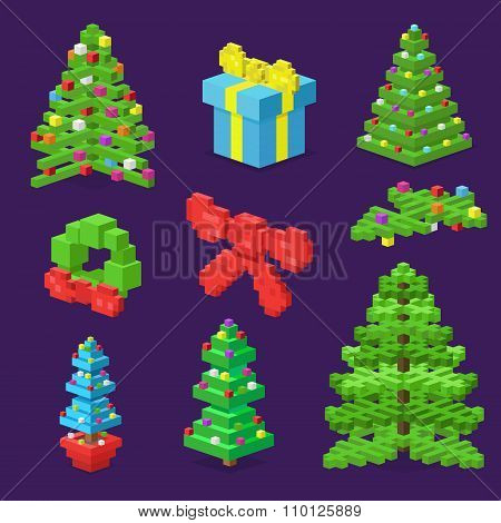 Christmas deoration symbold 3d isometric flat icons set