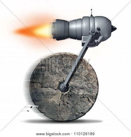 Technology upgrade business concept as an ancient stone wheel with a rocket engine or jet motor attached for increased speed and performance as a success metaphor for innovating on old ideas. poster