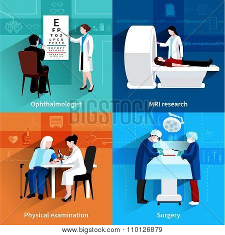 Medical specialists 4 flat icons square