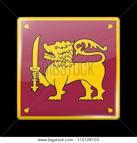 Flag Of Sri Lanka. Glassy Icon Square Shape