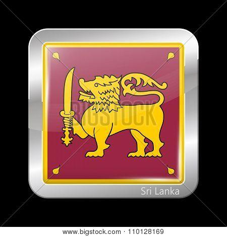 Sri Lanka Variant Flag. Metallic Icon Square Shape