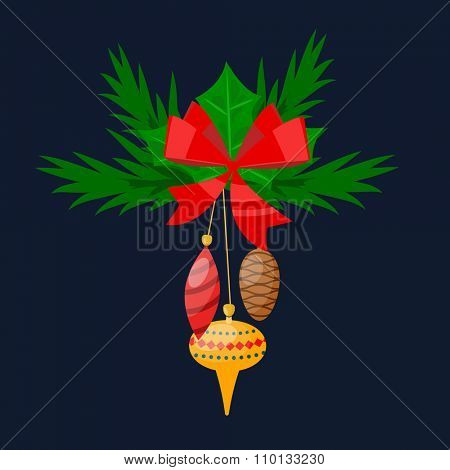 Christmas tree twig with toys flat design vactor icon isolated. Christmas twig tree. New Year tree twig. Christmas tree twig vector illustration. New Year tree twig silhouette. decoration balls