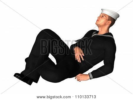 Young Seaman On White