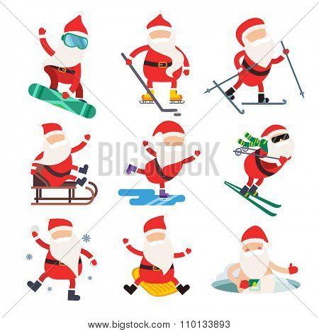 Cartoon extreme Santa winter sport illustration. Santa Claus winter sport isolated on white. Winter sport collection. Santa healthy, Santa cloth, Santa red hat, Santa sledge. Santa Claus vector people