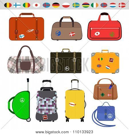 Travel bags vector illustration. Travel bags isolated on white background. Travel bags collection. Travel bags stickers, labels, flags. Different countries travel flags. Travel bags for traveling