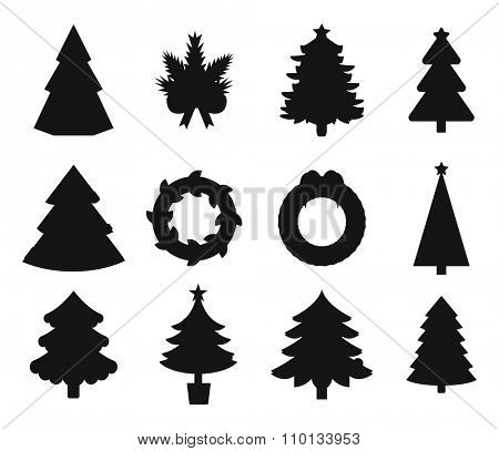 Christmas tree black icons set. Christmas tree vector. New Year tree black and white. Christmas tree vector silhouette. New Year tree silhouette. Christmas decoration, balls, tree, green tree. Set of