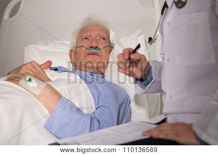 Elderly Man Examined By Doctor