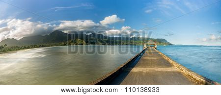 Widescreen Panorama Of Hanalei Bay And Pier On Kauai Hawaii