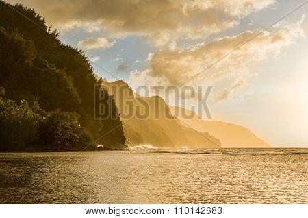 Sunset Along Na Pali Coast From Ke'e Beach
