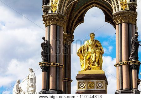Albert Memorial In London Situated In Kensington Gardens. Statue Of Albert, By John Henry Foley And