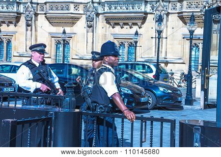 British Police Near The House Of Parliament