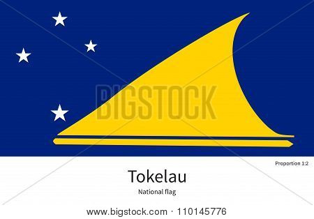 National flag of Tokelau with correct proportions, element, colors for education books and official documentation poster