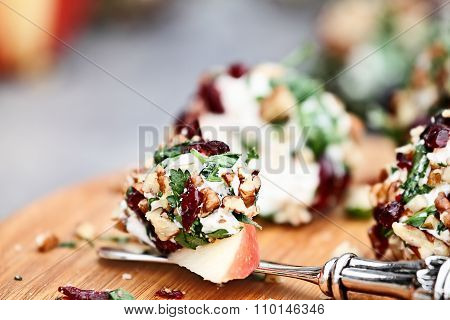 Cranberry Nut Cheese Ball And Apples