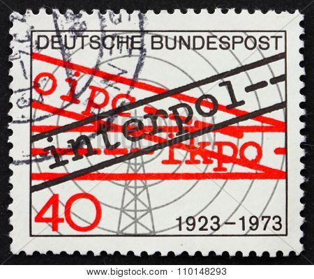 Postage Stamp Germany 1973 Radio Tower And Word Interpol