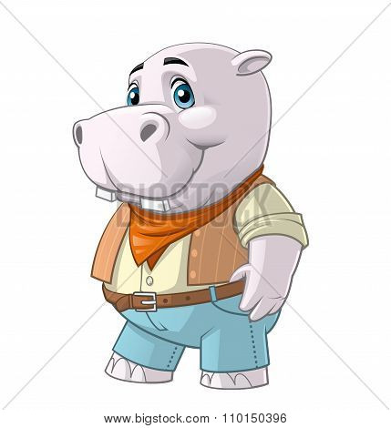 Hippo Cartoon Character