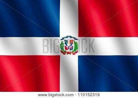 Flag Of Dominican Republic Waving In The Wind