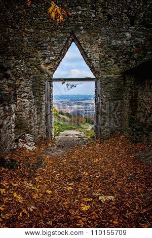 The Entrance To The Castle, Castle In Autumn, Ruins At Fall, Fallen Leaves Before Enterance To The C