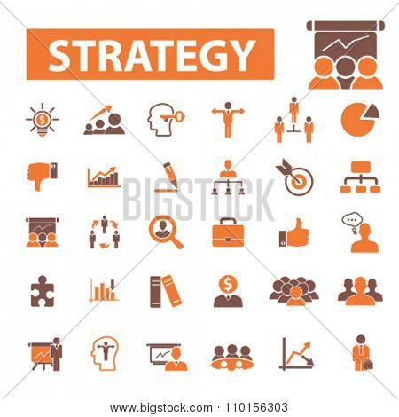 strategy  icons, signs vector concept set for infographics, mobile, website, application
