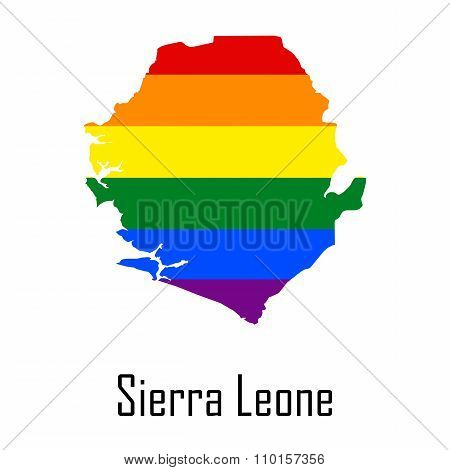 Vector Rainbow Map Of Sierra Leone In Colors Of Lgbt - Lesbian, Gay, Bisexual, And Transgender - Pri