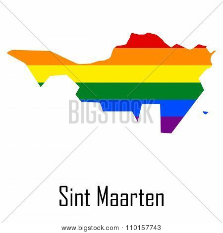 Vector Rainbow Map Of Sint Maarten In Colors Of Lgbt - Lesbian, Gay, Bisexual, And Transgender - Pri